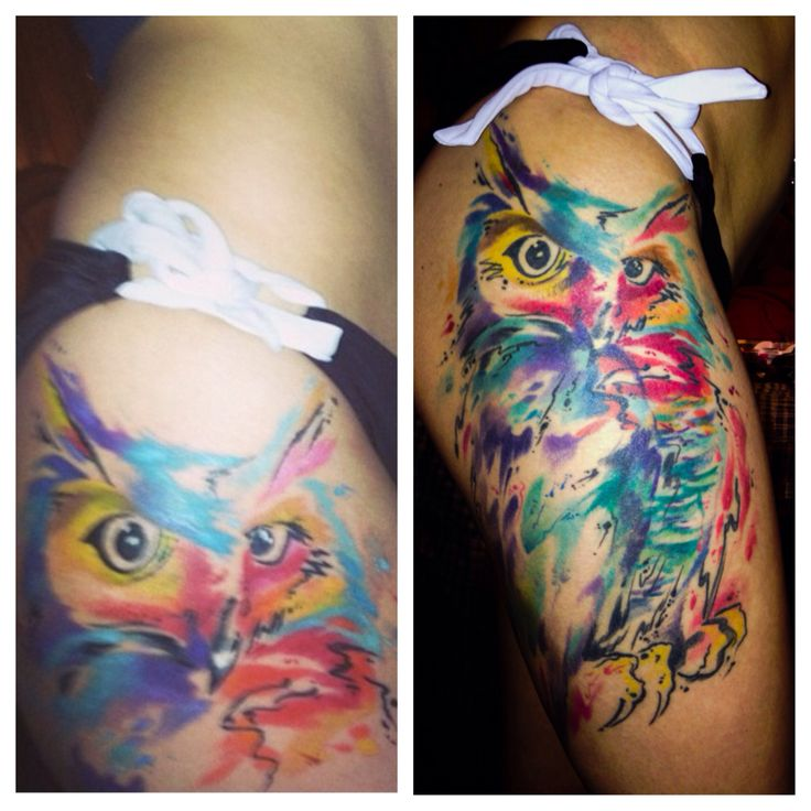 My watercolor owl tattoo!!! by Johnny Mac watercolor tattoo, owl tattoo, thigh tattoo