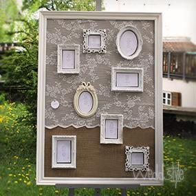 """Platzanweiser """"Frames""""  Ein absoluter Hingucker und mit dem Jutestoff und feiner Spitze eine perfekte Kombination im Vintage-Stil. Die Bilderrahmen sind Unikate und können mit Deinen eigenen Sitzplänen gefüllt werden."""