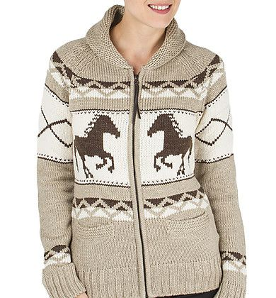 Sweaters in beautiful equestrian themes for riding or everyday wear. We carry a selection of sweaters in turtleneck, v-neck or cowl neck styles. Materials popular in today's sweaters are Merino wool, pima cotton or moisture wicking poly blends.