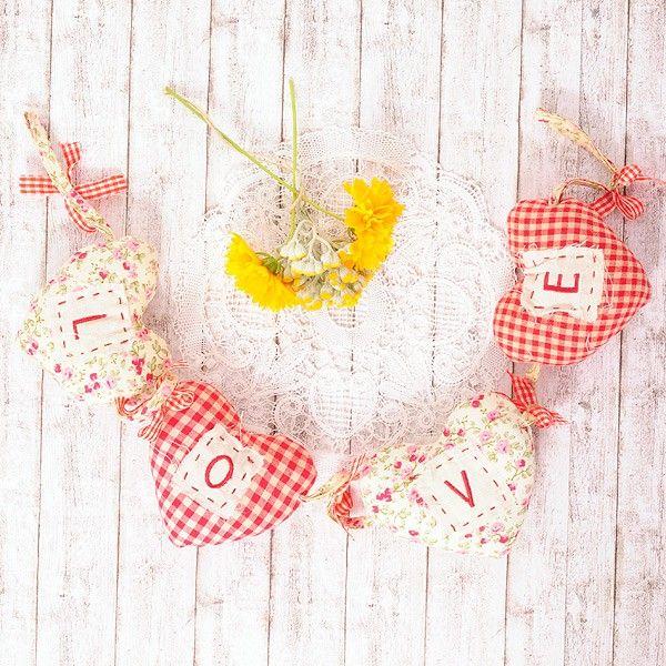 Guirnalda de corazones de tela love xmas deco shop - Guirnaldas de tela ...