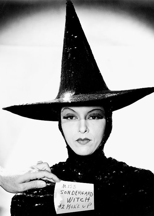 "vintagegal:  Gale Sondergaard in a makeup test for The Wizard of Oz (1939) Sondergaard was originally cast as the witch in ""Oz"" and was photographed for two wardrobe tests, both of which survive. One was as a glamorous wicked witch, and another as a conventionally ugly wicked witch. After the decision was made to have an ugly wicked witch, Sondergaard, reluctant to wear the disfiguring makeup and fearing it could damage her career, withdrew from the role, and it went to veteran character…"
