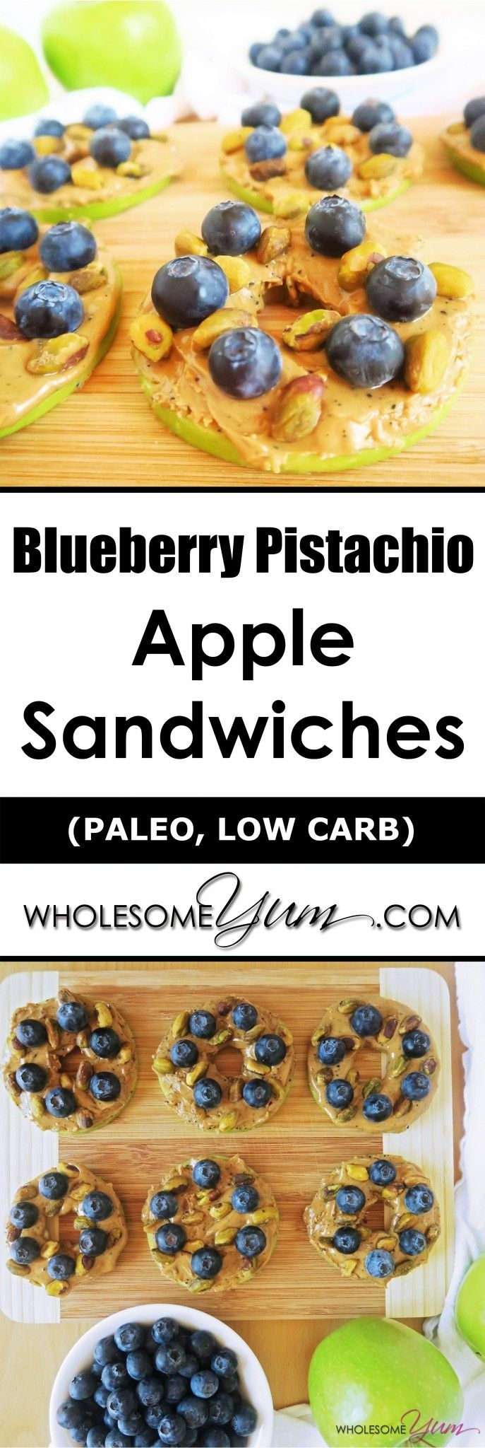 Blueberry Pistachio Apple Sandwiches (Paleo, Low Carb) | Wholesome Yum - Natural, gluten-free, low carb recipes