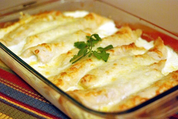 Caramelized Onion & Cream Cheese Chicken Enchiladas (Adapted Recipe Source) Recipe Main Dishes with onions, butter, sugar, garlic, chicken, cream cheese, rotelle, tortillas, monterey jack, heavy cream, cilantro