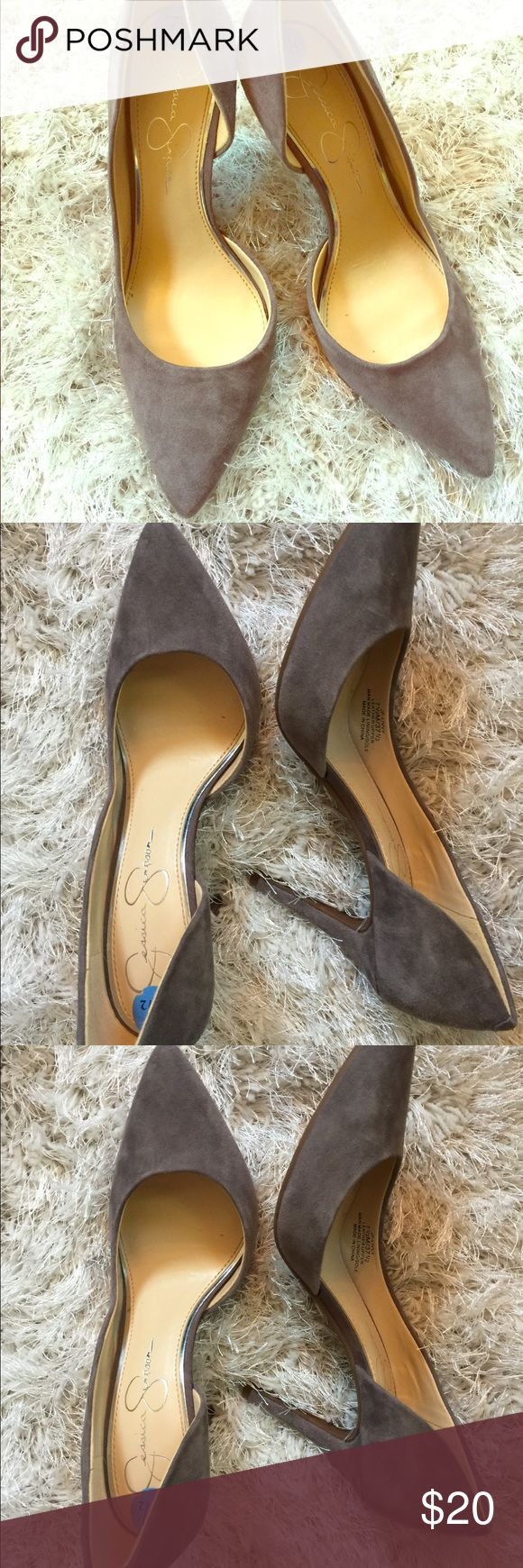 Grey Suede Jessica Simpson Pumps Grey Suede J Simpson Pumps in size 7.5. These are really pretty in person and a great look for fall and winter. Goes with everything and surprisingly comfortable. Worn only one time as you can see by condition of the bottom. Jessica Simpson Shoes Heels