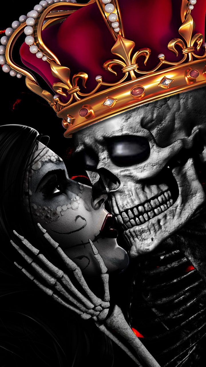 Love Is Eternal Skull Love Romance Skull Kiss Crown Art King Of