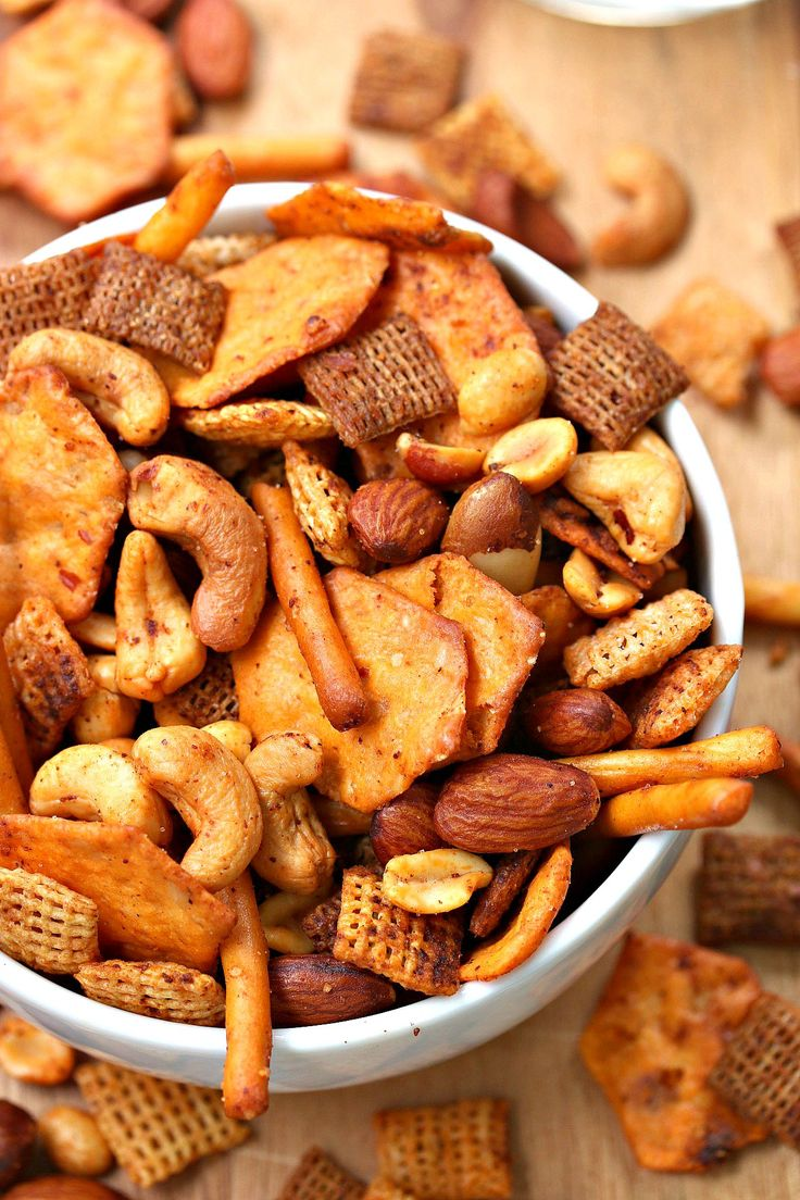 A variety of crunchy snacks, sauces, spices blend perfectly together to create this energizing & gluten free Chex Mix.