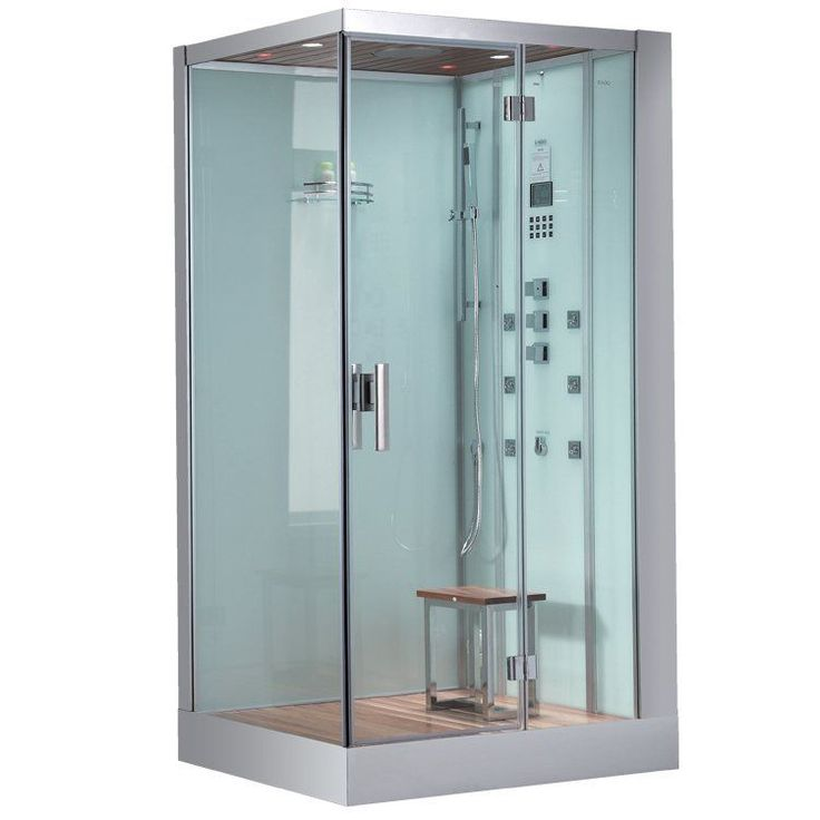 These fully loaded steam showers include massage jets, ceiling and handheld showerheads, chromotherapy, aromatherapy and built in radios to help maximize the therapeutic experience.