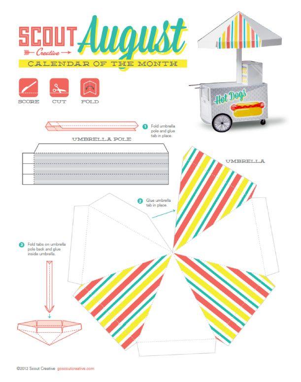 C'est un stand de Hot Dog que le collectif Scout Creative a imaginé pour illustrer son dernier calendrier en papercraft (Août 2012). Une création esthétique, pratique et très appétissante… Pour télécharger votre copie, cliquez sur le patron qui suit, ou…