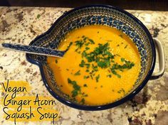 Tia Mowry's Ginger Acorn Squash Soup | from Alicia Silverstone's The Kind Life. Wonderful for Phase 1 (saute in broth instead of oil), Phase 3, and D-Burn.