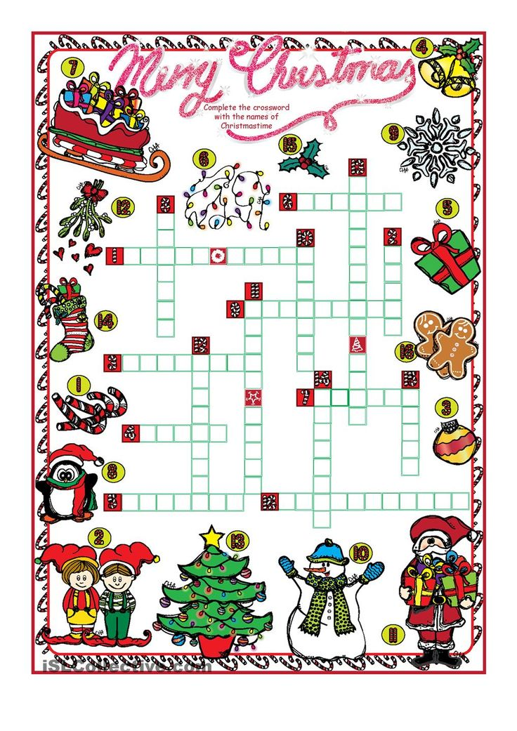 Christmas CROSSWORD (B&W and Key Included)