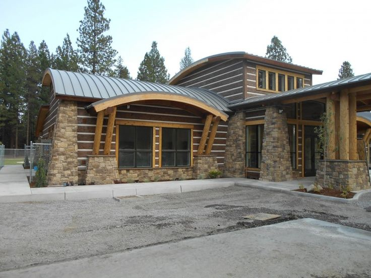 Front View of Klamath Tribe Early Childhood Development Center with EverLog Concrete Log Siding