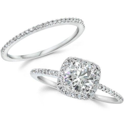 1.25CT Real Diamond Pave Halo Engagement EYE CLEAN Wedding Ring Set White 14k