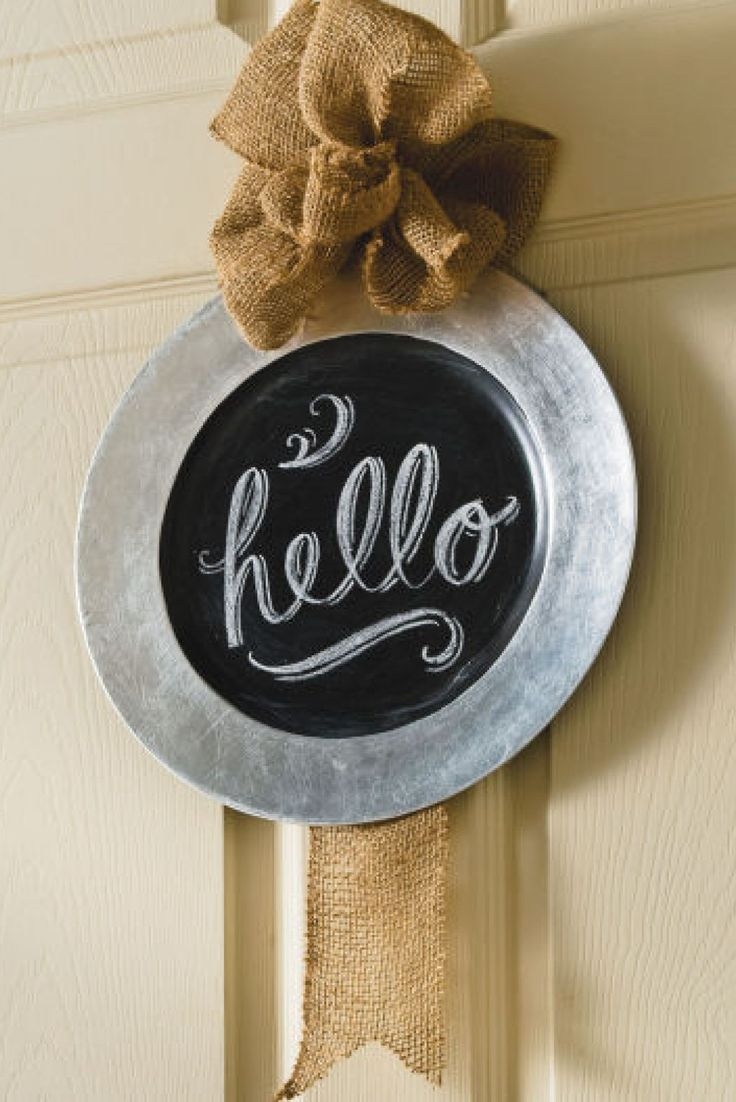 Diy Chalkboard And Burlap Wall Charger Plate Chalkboard
