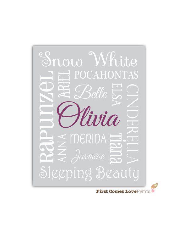 Princess Bedroom Art - Custom Print - 8x10 or 11x14 - Little Girl Bedroom Decor - Disney Princess - Personalized Gray Purple - Customized