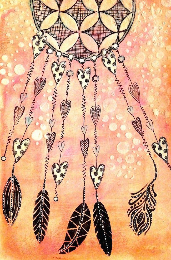 ART JOURNAL PAGE   DREAMCATCHER     Nika In Wonderland Art Journaling and Mixed…