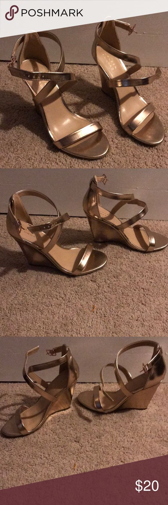 "Lauren Conrad Rose Gold Wedge Heels Size 8.5 These are in excellent condition.  Only worn once or twice.  No noticeable imperfections.  Straps buckle on the sides.  The wedges/heels are roughly 3"" tall. LC Lauren Conrad Shoes Wedges"
