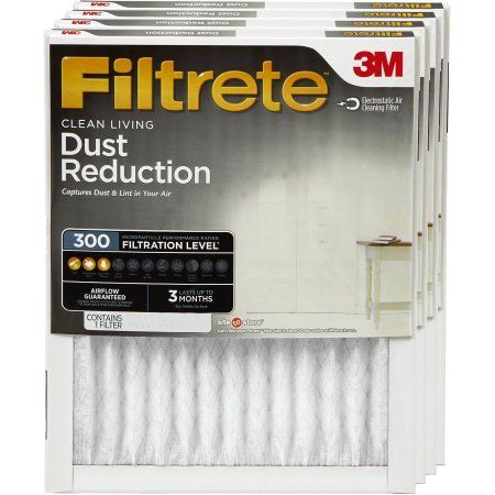Filtrete Clean Living Dust Reduction Hvac Furnace Air Filter, 300 MPR, 12 x 12 x 1 inch, Pack of 4 Filters