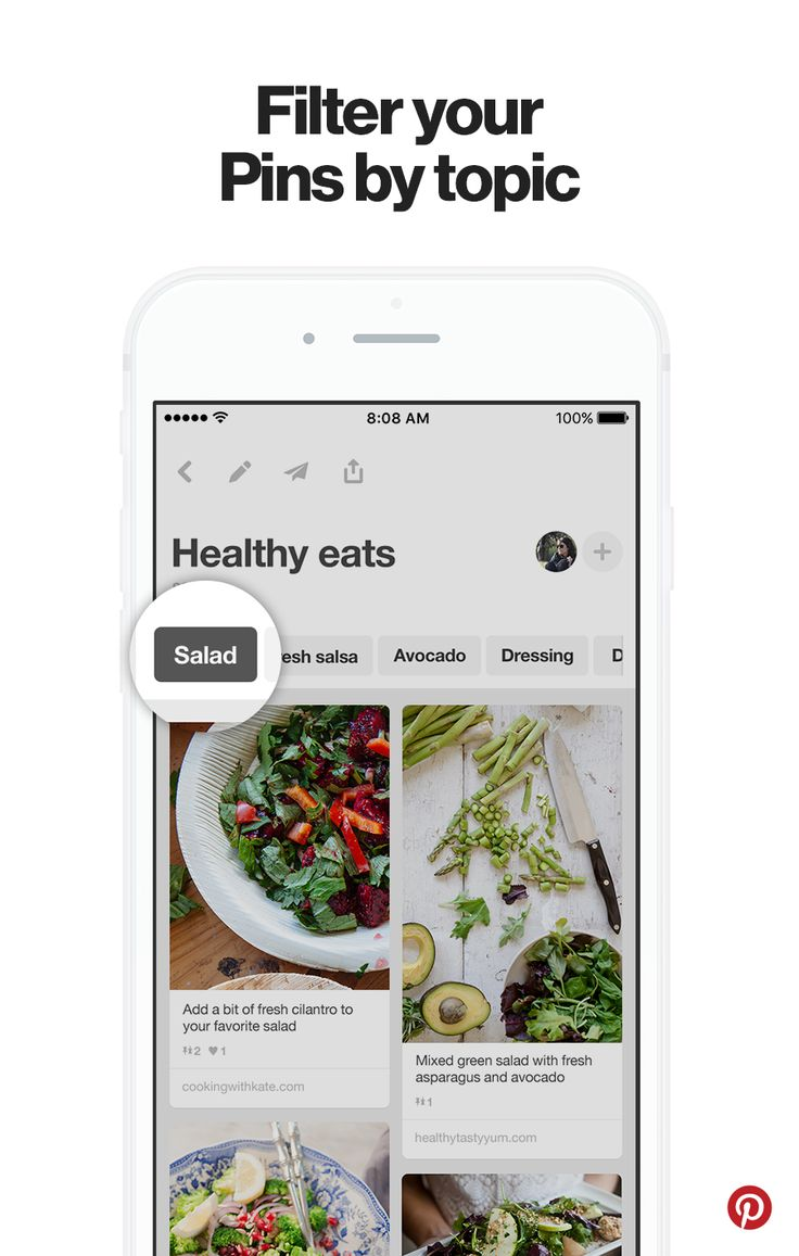 "Your mobile profile features filters that let you quickly see all the Pins you saved for your favorite topics. So if you've saved tons of recipes, you can get cooking faster by filtering by ""salads"" ""desserts"" and more."
