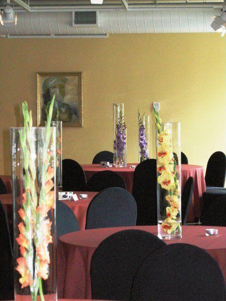 Modern Summer Orange Purple Yellow Centerpieces Wedding Reception Photos & Pictures - WeddingWire.com