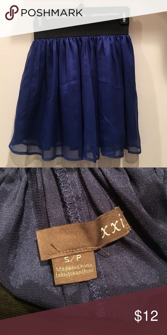 Blue Skirt Flowy Blue skirt. Goes cute with crop tops or tight shirts tucked in! Worn twice Forever 21 Skirts Circle & Skater