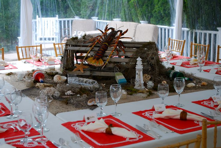 Centerpiece For Lobster Dinner Party Table Setting