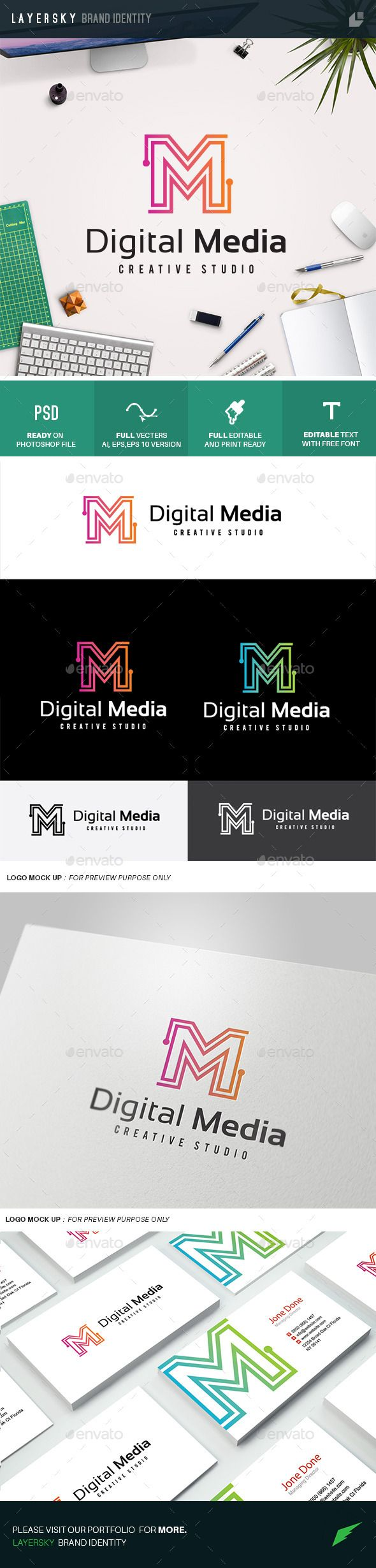 Digital Media - Logo Design Template Vector #logotype Download it here: http://graphicriver.net/item/digital-media/10989797?s_rank=1515?ref=nesto