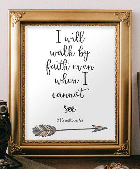 Arrow art 2 Corinthians 5:7 Arrow print Walk by faith art