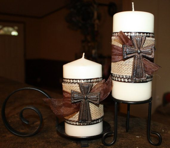 Set Of Two Embellished Cross Decorated Pillar Candles
