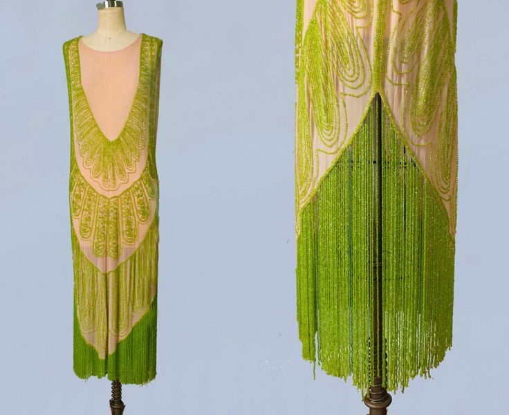 RARE 1920s Dress / 20s Flapper Dress BEADED / Fringe / Pink and Green / M L by GuermantesVintage on Etsy https://www.etsy.com/listing/243775325/rare-1920s-dress-20s-flapper-dress
