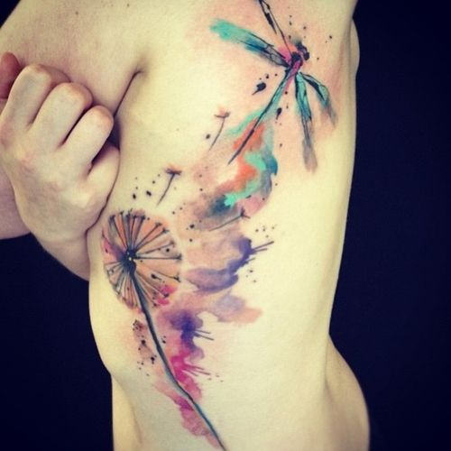 nice dragon fly watercolour tattoo
