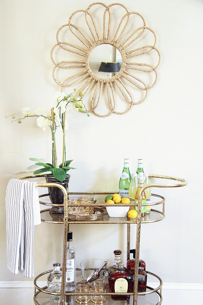 bar cart, lemons, cocktails, home tour