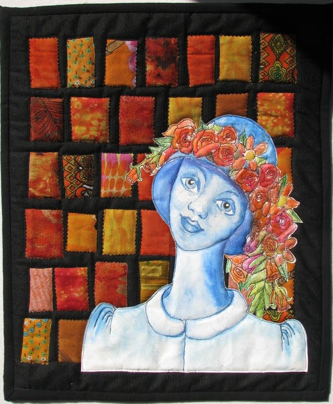 When You're Feeling Blue Go Into the Garden Art Quilt by Sarah Peck www.sarahsart.co.nz