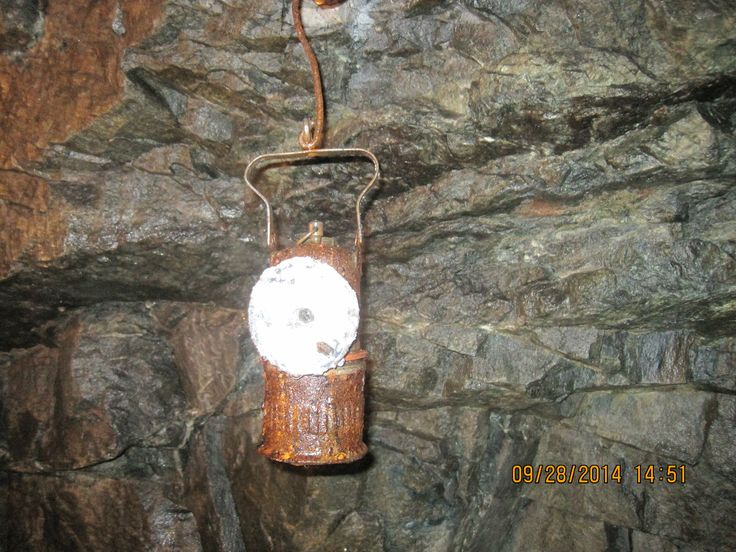 Originally underground mines in Cobalt were lit by candles. An early improvement was the introduction of Carbide Lamps. This is an original carbide lamp.  http://en.wikipedia.org/wiki/Carbide_lamp