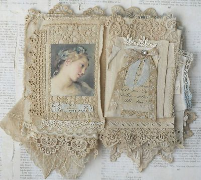 Mixed Media Fabric Collage Book of Paris Belles   eBay