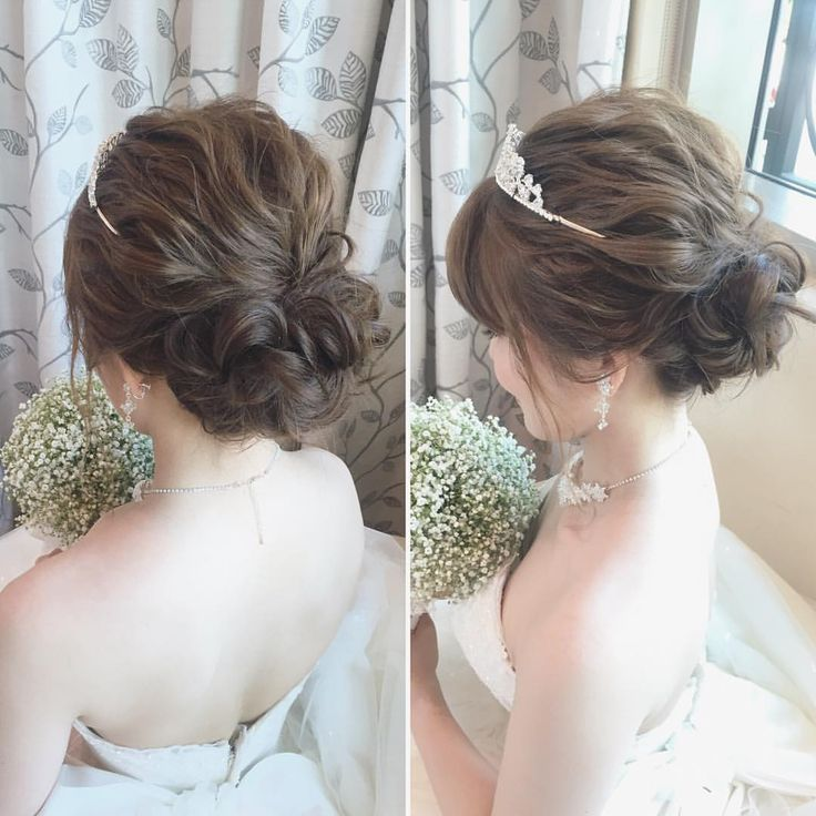いいね!514件、コメント4件 ― Hitomi Homma Wedding Hair Makeさん(@hitomimakeup)のInstagramアカウント: 「ルーズなウェーブシニヨン ラフにまとめたバックスタイルがかわいいです…」
