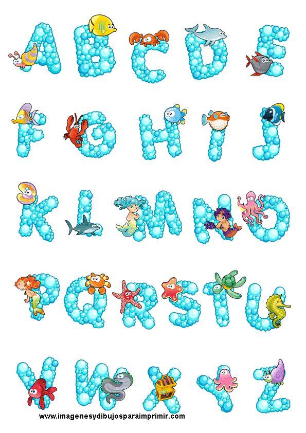 Abecedario con animales del mar-Imagenes y dibujos para imprimir