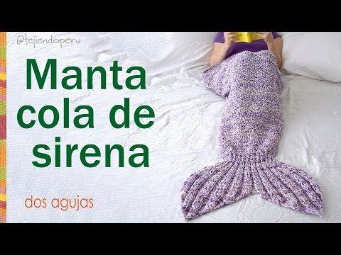 Manta o colcha cola de sirena tejida a palitos / Knitted mermaid tail blanket: English subtitles! - YouTube