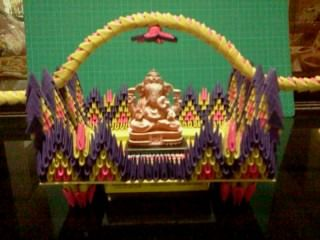 3d origami palakhi ganapati decoration