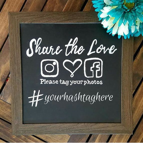 Framed Hand Lettered Hashtag Wedding Sign Instagram Hashtag Chalkboard Sign  Chalkboard Inspired Sign Wedding Decor Sign Rustic Wedding Photo
