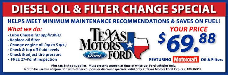 Diesel Oil Change Special! http://www.texasmotorsford.com/service-parts-specials.aspx