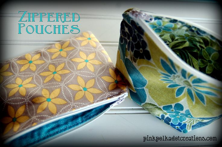 Pink Polka Dot Creations:  Zippered Pouch sewing tutorial.  Learn how to make a flat and a stand up zippered pouch!