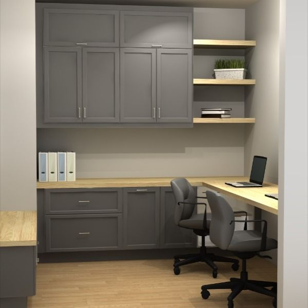 Build A Small Office Multi Purpose Room With Ikea Cabinets In 2020 Office Wall Cabinets Home Office Cabinets Home Office Furniture