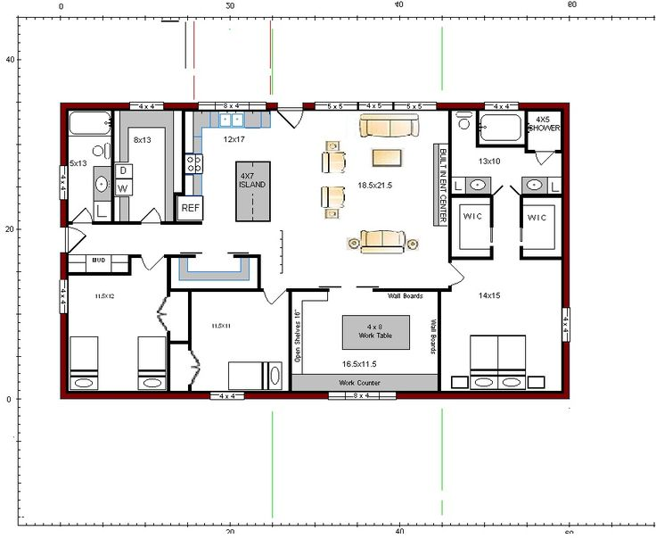 Floor plans for the barndominium fort reno rd for Open floor plan barn homes