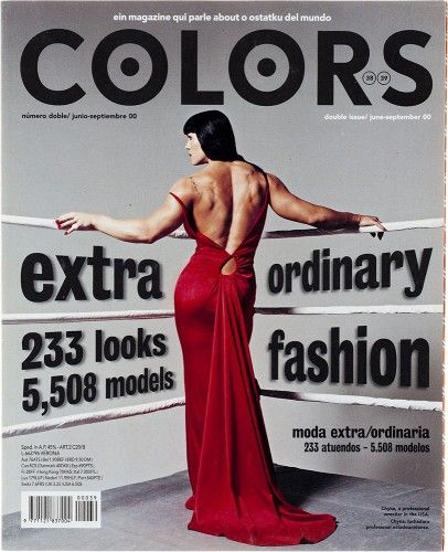 An unusual cover. A fashion photo taken by Patrick Demarchelier for a double issue about fashion. It was also Oliviero Toscani's last issue. But it wasn't a contradiction of the magazine's core values (no news, no fashion, no famous people) rather an anthropological and visual trip through different ways people dress around the world.