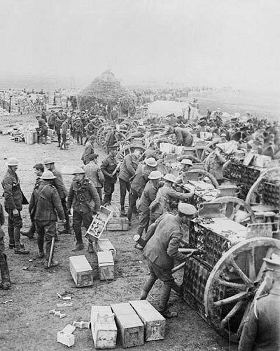 Canadian troops loading ammunition, May 1917 during WWI