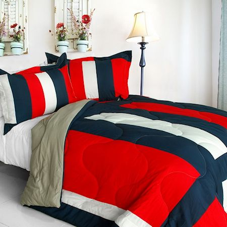Red Blue White Large Striped Teen Boy Bedding Twin Full