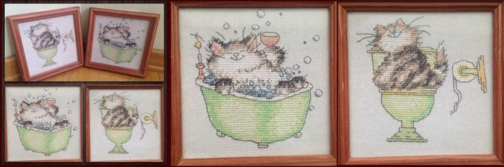 Lovely cats for my WC and Bathroom doors. Cross stitch