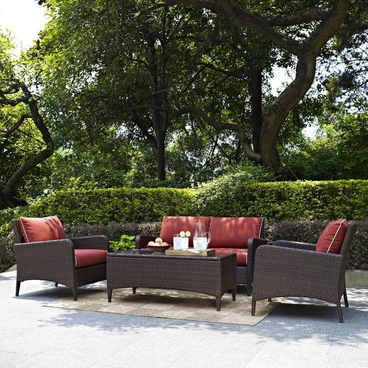 Crosley Kiawah Outdoor 4PC Wicker Seating Set With Sangria Cushions