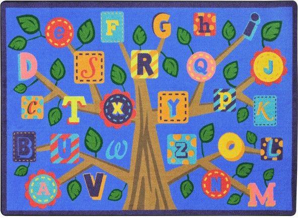 Alphabet Leaves Classroom Rug Soft 5'4 x 7'8