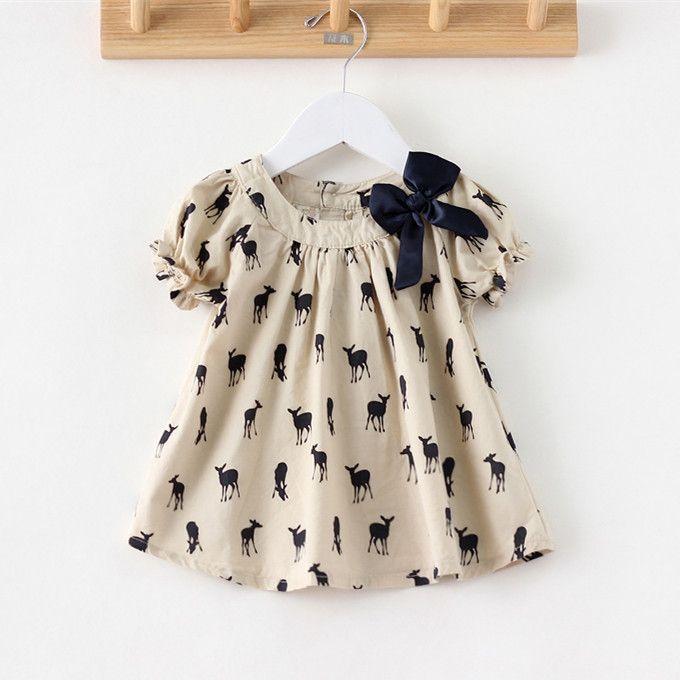 New 2014 Hot Sell Baby Girls Tunic Dress Deer Print Summer Girl Causal Dress Brand Children Clothing short puff sleeve dress 1pc US $12.30